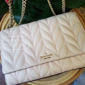 EMELYN BRIAR LANE QUILTED PEACH PUFF LIGHT PINK KATE SPADE BRAND NEW GOLD CHAIN
